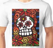 Flower Eyed Day of the Dead Sugar Skull Unisex T-Shirt