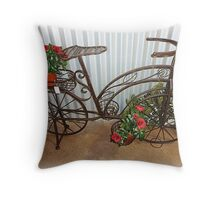 Bicycle turned into Garden Bike Throw Pillow