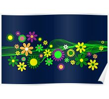 Bright and Colorful Floral Pattern Poster