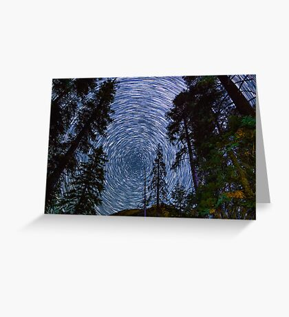 Polaris Star Trails Over Big Forest in King's Canyon Greeting Card