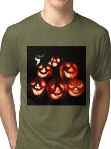 Happy Halloween! A jack-o-lantern quintet Tri-blend T-Shirt