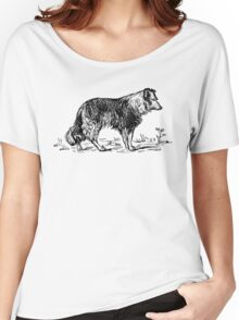 Vintage Collie - Woodcut style Women's Relaxed Fit T-Shirt