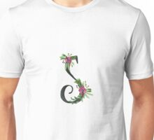 Letter S with Floral Wreath Unisex T-Shirt