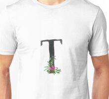 Letter A with Floral Wreath Unisex T-Shirt