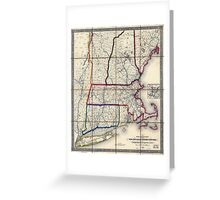 0053 Railroad Maps Railroad map of New England eastern New York complied from the most authentic Greeting Card