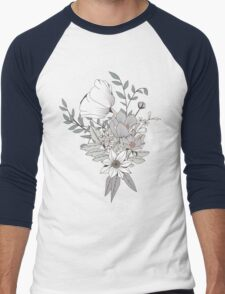 Seamless pattern design with hand drawn flowers and floral elements, white Men's Baseball ¾ T-Shirt