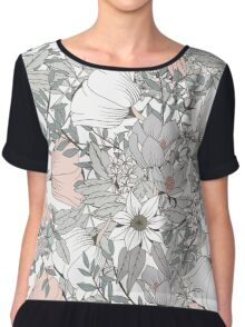 Seamless pattern design with hand drawn flowers and floral elements, white Chiffon Top