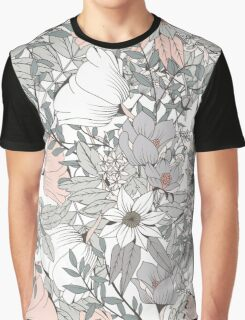 Seamless pattern design with hand drawn flowers and floral elements, white Graphic T-Shirt