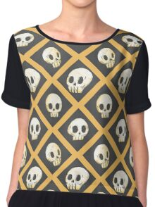 Tiling Skulls 1/4 - Yellow  Chiffon Top