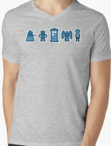 Time and Space Invaders Mens V-Neck T-Shirt