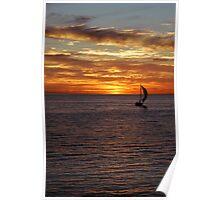 orange sunset with sailing boat Poster