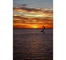 orange sunset with sailing boat Photographic Print