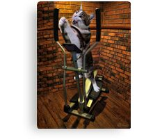 """MOM BRING ME SOME WATER THIS WORKOUT IS KILLING ME"" CAT-FELINE EXERCISE PICTURE/CARD Canvas Print"