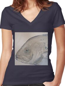 Fish head by Liz H Lovell Women's Fitted V-Neck T-Shirt