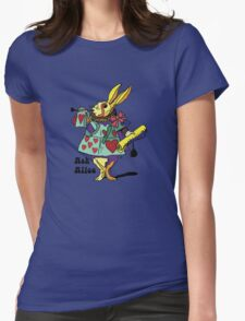 Ask Alice - The White Rabbit 2 - Alices Adventures in Wonderland Womens Fitted T-Shirt