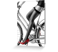 Sexy woman in red high heels and stockings riding bike art photo print Greeting Card