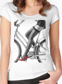 Sexy woman in red high heels and stockings riding bike art photo print Women's Fitted Scoop T-Shirt
