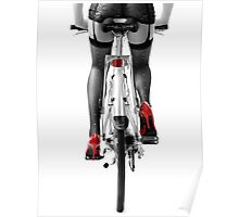 Sexy woman in red high heel shoes and stockings riding bicycle art photo print Poster