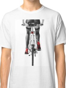 Sexy woman in red high heel shoes and stockings riding bicycle art photo print Classic T-Shirt