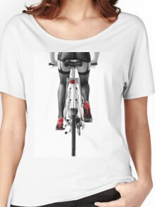 Sexy woman in red high heel shoes and stockings riding bicycle art photo print Women's Relaxed Fit T-Shirt