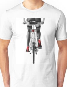 Sexy woman in red high heel shoes and stockings riding bicycle art photo print Unisex T-Shirt