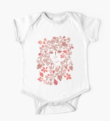 Autumn Girl with Floral 3 One Piece - Short Sleeve
