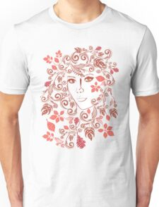 Autumn Girl with Floral 3 Unisex T-Shirt