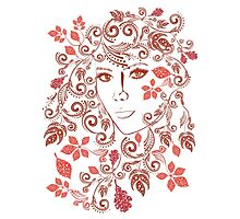 Autumn Girl with Floral 3 Photographic Print