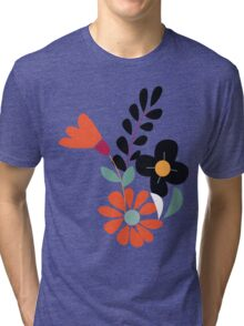 Seamless pattern design with hand drawn flowers and floral elements Tri-blend T-Shirt