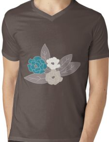 Seamless pattern design with hand drawn flowers and floral elements Mens V-Neck T-Shirt