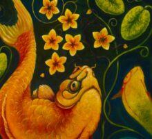 Koi Carp and Flowers Sticker