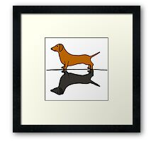 Funny Funky Red Dachshund and Shadow Framed Print