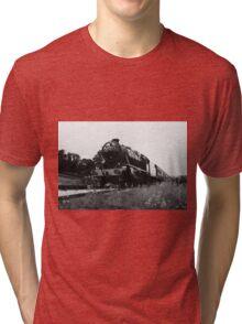 Time Travel By Steam b/w Tri-blend T-Shirt