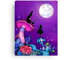 Alice in Wonderland and Caterpillar Canvas Print