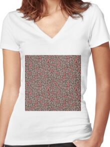 Seamless pattern with organic hand drawn rounded and stripe shapes Women's Fitted V-Neck T-Shirt
