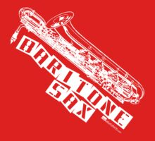Label Me A Baritone Saxophone (White Lettering) One Piece - Short Sleeve