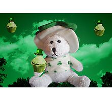 TEDDY WITH SAINT PATRICKS DAY CUPCAKES  Photographic Print