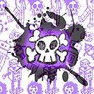 Purple Cartoon Skull by Roseanne Jones