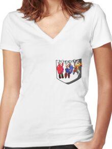 Pocket Sonic Women's Fitted V-Neck T-Shirt