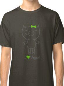hand drawn piggy and i love vegan text Classic T-Shirt