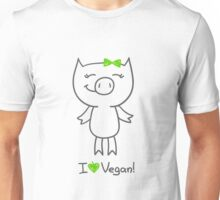 hand drawn piggy and i love vegan text Unisex T-Shirt