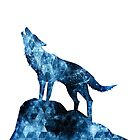 Howling Wolf blue sparkly smoke silhouette by PLdesign