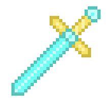 Pixel Art Electric Blue Sword Photographic Print