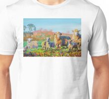 Sheep and lambs on a sunny day painting Unisex T-Shirt