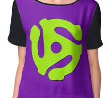 45 rpm record adaptor, neon green, purple Chiffon Top