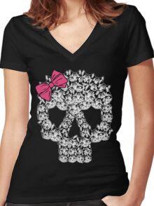 kitten sugar skull Women's Fitted V-Neck T-Shirt