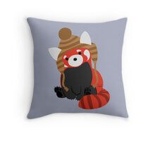 Collin the Beanie-Wearing Red Panda Throw Pillow