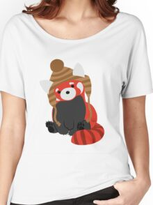 Collin the Beanie-Wearing Red Panda Women's Relaxed Fit T-Shirt