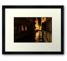 Golden Glow - Venice, Italy at Night Framed Print