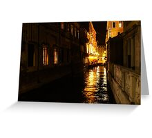 Golden Glow - Venice, Italy at Night Greeting Card